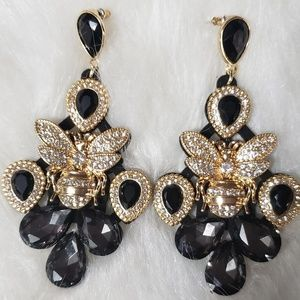 Black and Gold tone Inspired Earrings